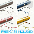 Semi-Rimless READING GLASSES & Tube Case - GREY, Blue, Red, Gold +1.00 to +3.50