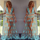 Sexy Women Summer Long Sleeve Lace Casual Evening Party Cocktail Long Maxi Dress