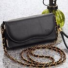 LUXURY BLACK PREMIUM LEATHER CARRYING POUCH WALLET CELL PHONE CASE PURSE COVER