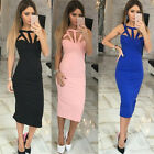 Fashion Women Bandage Bodycon Sleeveless Night Club Cocktail Midi Party Dress A