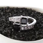 Sexy Women Lady Wedding Party Cocktail Ring  Black Double Row Zircon Stone Ring