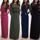 Fashion Sexy Women Casual Evening Party Long Sleeve Maxi Long Formal Dresses A