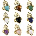 Gold Plated Stone Ring Rose Quartz Rock Crystal Point Adjustable Finger Ring