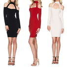 Womens Dresses Halter Long Sleeve Casual Dress Party Club Cocktail Mini Dresses