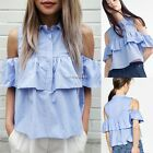 New Fashion Women Casual Off Shoulder Turn Down Collar Ruffles Top Blouse N4U8