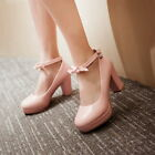 Women shoes Round toe Ankle strap Low top High heel Block New fashion Platform