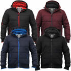 Mens Padded Quilted Fleece Lined Hooded Jacket Winter Coat By Crosshatch
