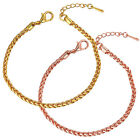 New Stylish Rose Gold Plated Charm Chain Lobster Clasp Bracelet Women Jewelry