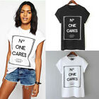 Womens Summer No One Cares Tops Loose Tee Short Sleeve T shirts Casual Blouse