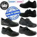 Boys Girls Back To School Black School Shoe Sizes 8-6 Kids Buckle My Shoe