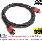 6 FT 4K Braided Gold HDMI CABLE Cord V1.4 Full 1080P FOR BLURAY 3D DVD XBOX HDTV
