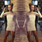 Women Ladies Off-shoulder Long Sleeve Lace Party Cocktail Bodycon Mini Dress New