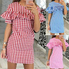 Summer Sexy Women Formal Casual Short Sleeve Plaid Evening Party Ruffles Dress A
