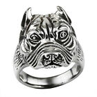 Antique Retro Silver Stainless Steel Dog Bulldog Ring Men's Fashion Jewelry