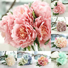 12 Bouquet 60 Heads Vintage Artificial Peony Silk Leaf Flower Wedding Home Decor