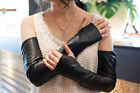 women's top goat leather no finger half finger stylish opera length black gloves