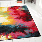 Rugs Swirls Contemporary Modern Area Rug Multi-Color Abstract Paint Carpet