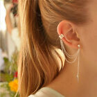 Women Punk Rock Leaf Chain Tassel Dangle Ear Stud Cuff Wrap Earring Eardrop