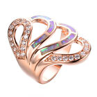 Size 8/9 Fashion CZ Fire Opal Wedding RIng 10KT Rose Gold Filled Women's Jewelry
