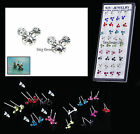 DISNEY EARRINGS MICKEY MOUSE STUDS PIERCED ACRYLIC CRYSTAL SMALL DAINTY 6MM 8MM