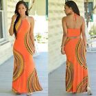 Women summer Floral Beach Boho Maxi backless long dress slim casual sundress NEW