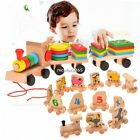 Building Blocks Wooden Toys Baby Kid Geometric Stacker Stacking Train N4U8