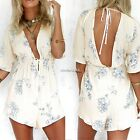 Sexy Women V-Neck Half Sleeve Backless Drawstring Waist Floral Jumpsuit N4U8