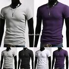 Short Sleeve Muscle Tee T-shirt Solid Men Casual V-Neck Basic Slim Fit Cotton