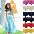 HOT Women Ladies Bowknot Elastic Bow Wide Stretch Buckle Waistband Waist Belt