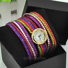 New Women Colorful Crystal Rhinestones PU Leather Strap Bracelet Watches Gifts