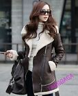 Chic Womens Leisure Suede Leather Winter Warm Parka Jacket Trench Coat Outwear