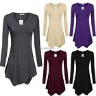 Meaneor Women Casual V-Neck Long Sleeve Irregular Hem Tunic Top Blouse N4U8