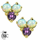BJC® 9ct Yellow Gold Natural Opal & Amethyst Cluster Stud Earrings Studs ER8