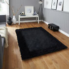 MODERN SMALL LARGE SABLE 2 SPARKLE SPAGETTI BORDERED RUG - DENSE BLACK SHAG RUGS