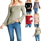Solid Plain Bell Long Sleeve Off Shoulder Top Casual Cute Rayon Spandex S M L