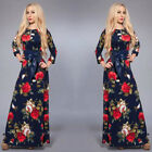 Women Vintage Floral Evening Party Dress Long Sleeve Maxi Boho Holiday Sun Dress