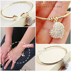 Pretty Gold/Silver Plated Love Heart Rhinestone Pendant Bangle Bracelet Gift New