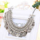 Coin Necklace Chain Bohemian Choker Silver Long Jewelry Fashion Women Round PHNG