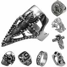 Unisex Stainless Steel Dragon Skull Jesus Cross Mason Master Boxing Glove Ring