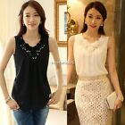 Women Sleeveless Sequin Pleated Chiffon Casual Fit Top Blouse Vest Shirt M L Hot