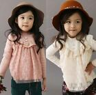Baby Girls Kids Princess Long Sleeve Lace Flowers Tops Shirt T-Shirt Tutus 2-7Y