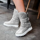 L New Stylish womens warm ankle boots fur inside hidden heel platform Shoes Size