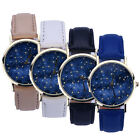 Men's Women's Starry Dial Casual Wristwatch Stylish Leather Analog Quartz Watch image