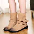 Womens Mid Calf Metallic Buckle Strap Cowboy Round Toe COmfort Flat Fashion Boot
