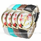 1x Golden Anchor Flower Print Quartz Analog Watch Color Leather Band Jewelry New