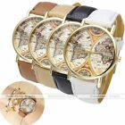 1x Mens Womens Earth World Map Gold Case PU Leather Band Quartz Wrist Watch Gift