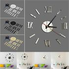 DIY 3D Wall Clock Roman Numerals Large Size Mirrors Surface Luxury Big Art Clock