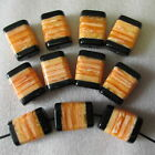 10 Chunky Rectangle Murano Effect Big Hole Beads Barley Sugar, Coral, Pink 32mm