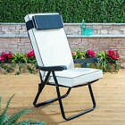 Alfresia Garden Recliner Folding Black Adjustable Chair with Luxury Cushion