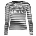 SoulCal Womens Stripe T Shirt Block Colour Ribbed Long Sleeve Crew Neck Top